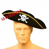 KSH-1076 Шляпа Пирата треуголка фетр