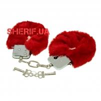 Наручники Max Fuchs плюшевые с 2 ключами Red