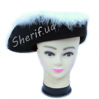 Шляпа Трехуголка с пухом