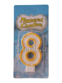 Свеча Цифра «8» блестящая