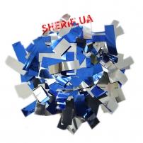 Конфетти-метафан Blue/Silver (цв.синий/серебро, metall, 2x6,5см) 0,5кг