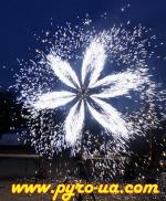 Наземная огненная фигура - Снежинка с встречным вращением на 12 фонтанов